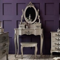 Toulouse Silver Dressing Table and Stool   Dunelm