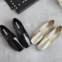 Edgy Fashion Simple Solid Color Flats Shoes
