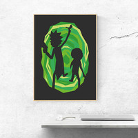 Rick and Morty Poster, Geek Gift, Ricky and Morty Print, Rick Sanchez, Morty Smith, Cool Gift, Rick and Morty Wall Art, Geek Decor