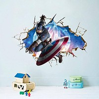 Avengers 3D Through Wall Stickers Decals Art for Baby Nursery Home Decoration Captain America WallPaper Kids Cartoon Poster