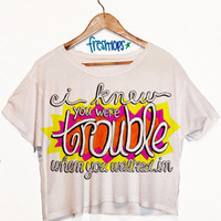 I Knew you were trouble shortsleeve crop top   fresh-tops.com