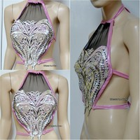 Iridescent Pink Unicorn Princess Sequin Mesh Spandex Halter Top Crop Top Dance Rave Bra