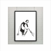 Swept Up by Banksy Print / Graffiti Art / US Letter-A4 up to A0 size / Street Art / Wall Art / Contemporary Decor / Provocative Humor / Maid