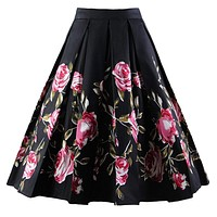 A-Line Pleated Printed Skirts, Black Rose, Sizes XSmall - 3XLarge