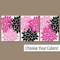 Hot Pink Black Wall Art, Baby Girl Nursery Art, Flower Wall Art, Girl Bedroom Wall Decor, Floral Bathroom Decor Canvas or Prints Set of 3