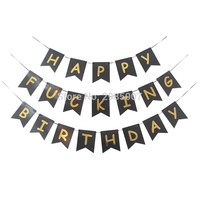 black happy birthday banner bronzing gold letters printed flag  buntings adult gold party decorations  abusive party banners