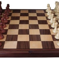 Abigail Chess Inlaid Wood Folding Board Game with Pieces - 21 Inch Set
