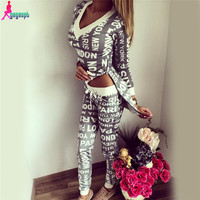 Gagaopt 2016 Paris Printed Women Sport suit Asymmetric 2 Piece set Tracksuit Side Split Jogging suits for Women S0423