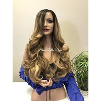Balayage Dark Blonde Curly Lace Front Wig