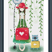 Counted Cross Stitch Pattern, Instant Download PDF, Cartoon Girl