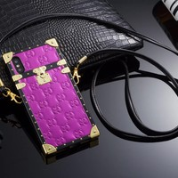 Emboss GG Monogram Trunk Case w/ Carry Strap (PURPLE)