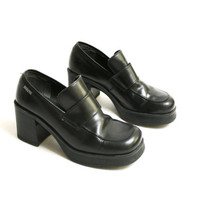 Vintage 90's Leather Black Chunky Platform Loafers, Grunge Hell Monk Strap Loafers - EUR 38/ US 7.5/ UK 5