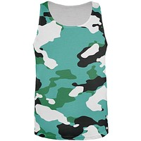 Turquiose Camo All Over Adult Tank Top