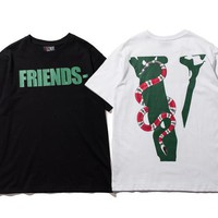 FRIENDS joint viper embossed printing VLONE LIFE short-sleeved T-shirt men and women tide brand loose couple