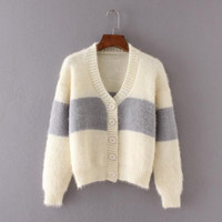 Color Block  Knit Sweater Cardigan  B0013813