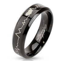 STR-0123 Stainless Steel Black IP with Heartbeat Laser Etched Band Ring (7)