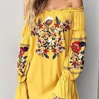 Casual Yellow Floral Ruffle Embroidery Off Shoulder Homecoming Party Mexican Mini Dress