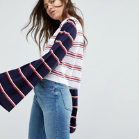 ASOS Top with Oversized Sleeve in Cutabout Stripe at asos.com