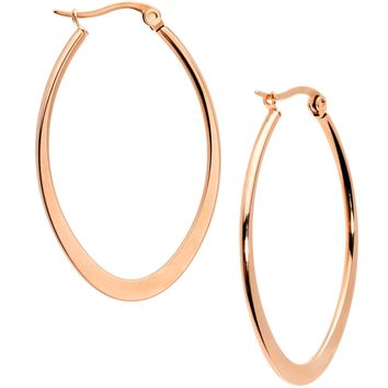 40mm Rose Gold Tone PVD Stainless Steel Oval Hoop Earrings