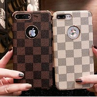LV Popular Women Men Cute Tartan Print iPhone 7 iPhone 7 plus - Hot Sale Couple Phone Case For iphone 6 6s 6plus 6s plus iphone 7 iphone 8 iphone X
