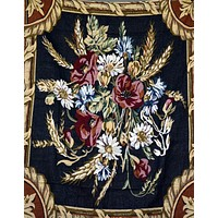 Tache Floral Wheat Bouquet Harvest Tapestry Throw with Fringe (1358)