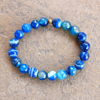 Confidence and communication, faceted blue strip agate bracelet