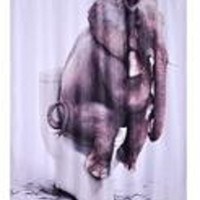 Bathroom Polyester Fabric Printed Elephant Shower Curtains Liner Waterproof