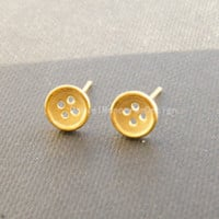 925 Sterling Silver Gold Plated Button earrings,delicate sterling silver earrings