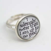 Harry Potter 'I Solemnly Swear That I Am Up To No Good' Ring, Silver Glass
