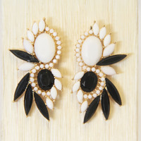 Black and White Whirl Earrings
