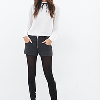 LOVE 21 Zippered Woven Shorts Charcoal
