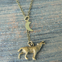 Wolf necklace wolf howling at the moon necklace Totem neckace Tribal necklace