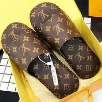 Louis Vuitton LV Slippers Fashion Women Men Print Sandals Shoes