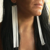 Fringe Earrings. Extra Long Earrings. White Earrings. Shoulder Duster Earrings