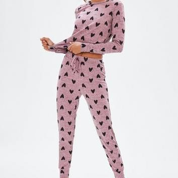 Missguided - Pink Heart Print Lounge Set