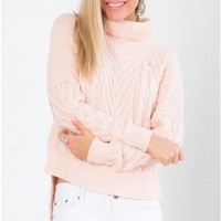 Cosied Up Knit Sweater in Pale Pink