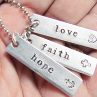 Necklace 3 Tag Hope Faith Love Hand Stamped Jewelry Charms Aluminum Personalized Names Initials Stainless Steel Chain Jewelry