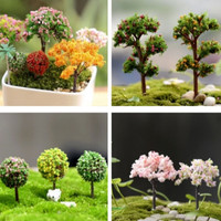 Plastic Crafts Home Decoration Accessories Kawaii Trees For Miniature Garden Ornament Dollhouse Plant Pot Diy Craft
