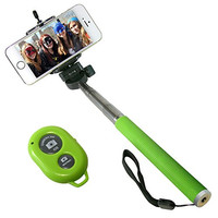 I-kool Selfie Stick, Quicksnap Pro 3-in-1 Self-portrait Monopod Extendable Wireless Bluetooth Selfie Stick with Built-in Bluetooth Remote Shutter with Adjustable Phone Holder for Iphone 6, Iphone 6 Plus, Iphone 5 5s 5c, Android and Motorrola (Green)