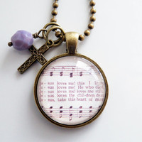 Music Pendant Necklace - Jesus Loves Me - Sunday School Song - Inspirational Jewelry - Music Jewelry - Hymn - You Choose Bead and Charm
