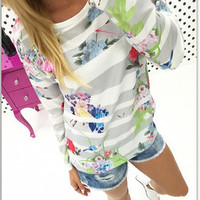 Stripes Printed Floral Printed Long Sleeve T-Shirt a12212