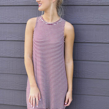 Made You Look Wine & Ivory Striped Ribbed Knit Sleeveless Tunic Dress