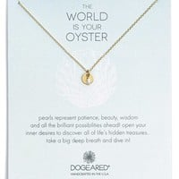 Women's Dogeared 'The World Is Your Oyster' Pearl Disc Necklace