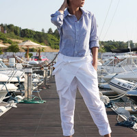 White Cotton Pants / Wrap Pants / Low Crotch Pants / Women's Pants / Extravagant Pants / Drop Crotch Harem Trousers / Loose Pants P21217