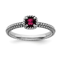 Sterling Silver Stackable Expressions Cushion Cut Ruby Ring