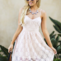 Emmy Peach Lace Fit and Flare Dress