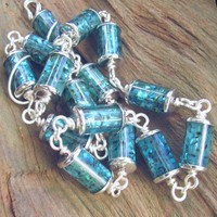 Paua Shell Station Chain, Blue And Teal, Fine Silver Plated, Handmade