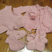 Knitted Pinck Baby Set ,Two Vest Two Knitted Slippers , Set of 4ps, Size 3 to 6 Months, Handmade for Babies,Knitting for Babies