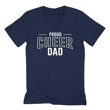 Proud cheer dad  team squad game day sport dad  love cheerleading Father's day  V Neck T Shirt