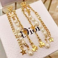 DIOR New fashion star leaf more pearl long earring  jewelry Golden